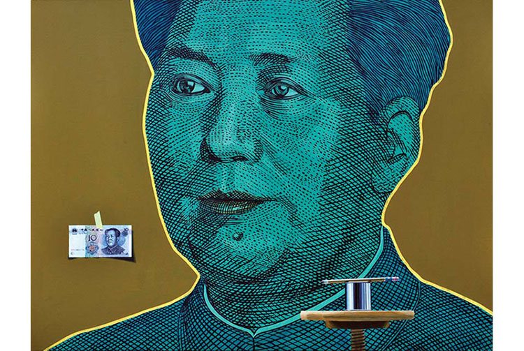 Gordon Lee,  Portrait of a Cloistered Mao . Acrylic and oil on panel.