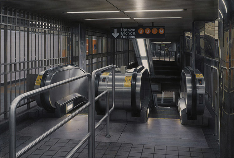 Hisaya Taira,  Escalator #31,  acrylic on canvas over panel, 16.14 x 24 inches