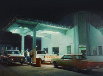 Anthony Brunelli Fine Arts  of Binghamton, N.Y. will feature a section dedicated to photorealist painting and hyperrealist sculpture. These will include Robert Gniewek's 2016 oil Pemex Station, Agua Prieta, a Hopperesque night depiction of a gas station.
