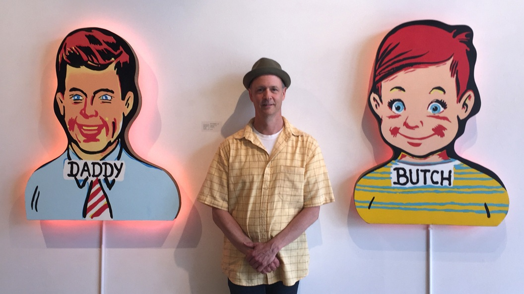 Artist Rich Harrington with works  Daddy   and  Butch  from the  Here We Are Series