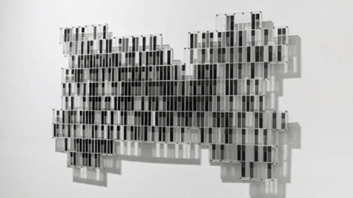 Sungchul Hong,  Perceptual Mirror 3010,  solar LCD units, acrylic, 35 x 83 x 2 inches