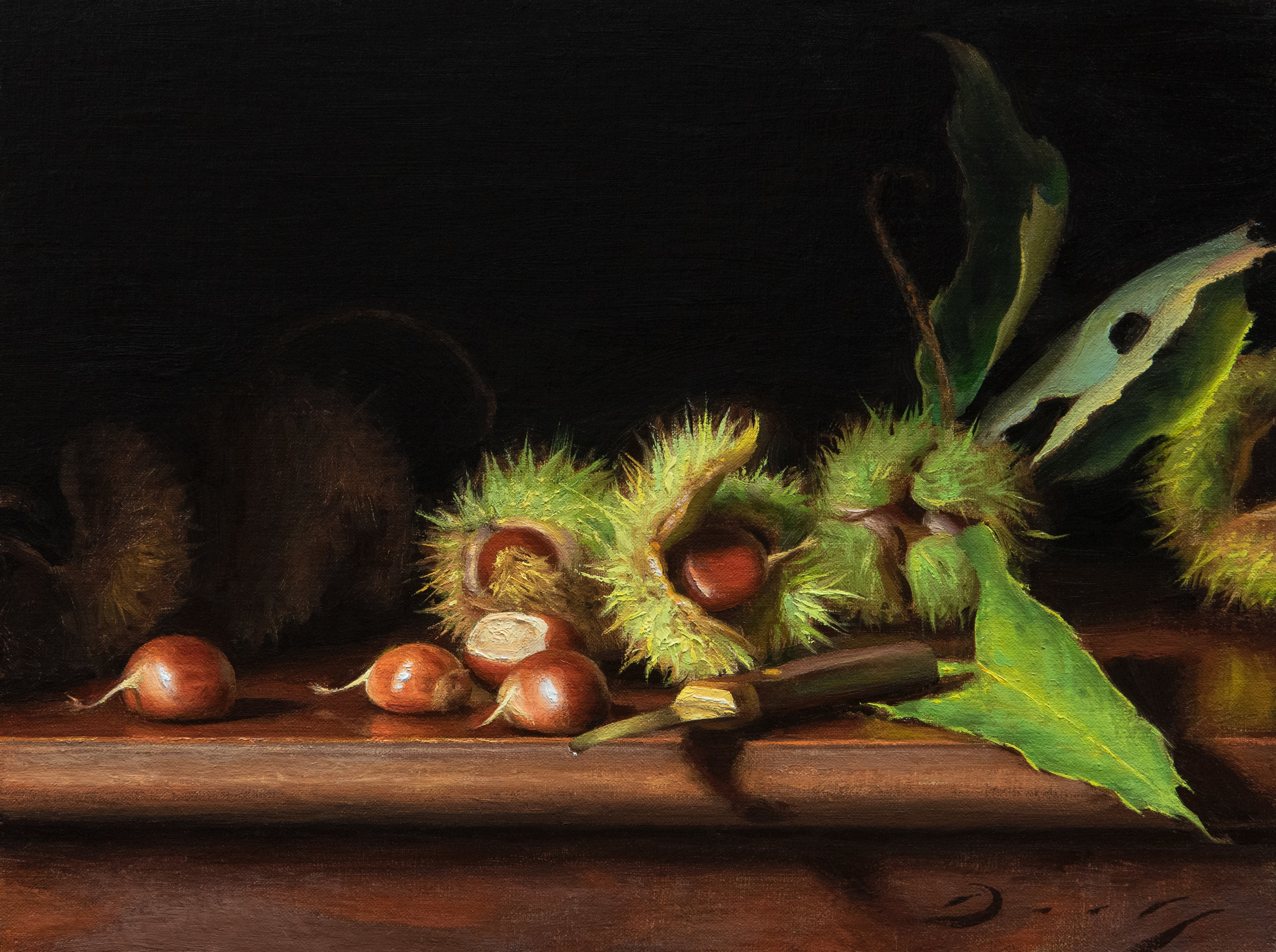 Still Life with Freshly Fallen Chestnuts
