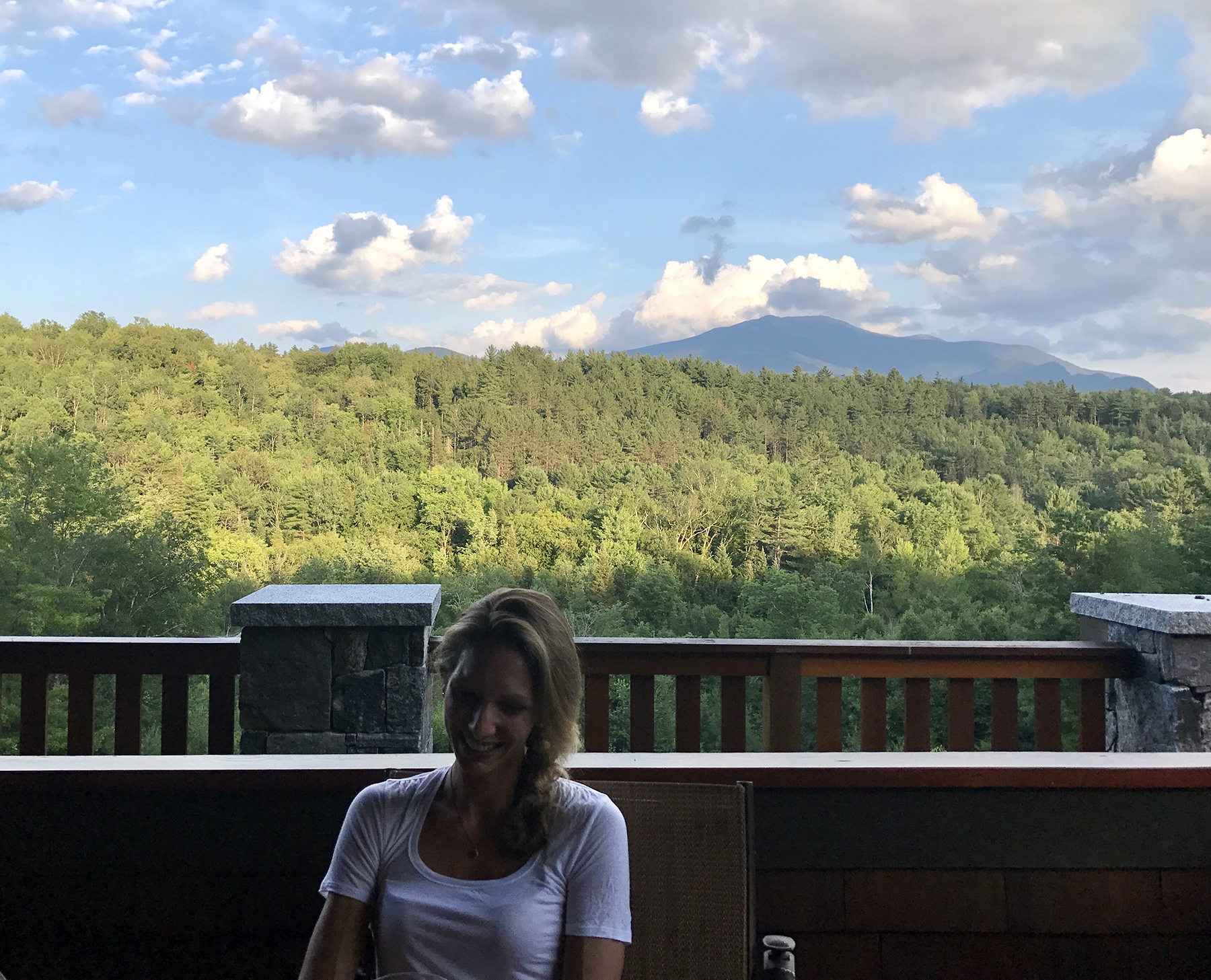 My wife Emily, on the collector's deck, overlooking the mountains.