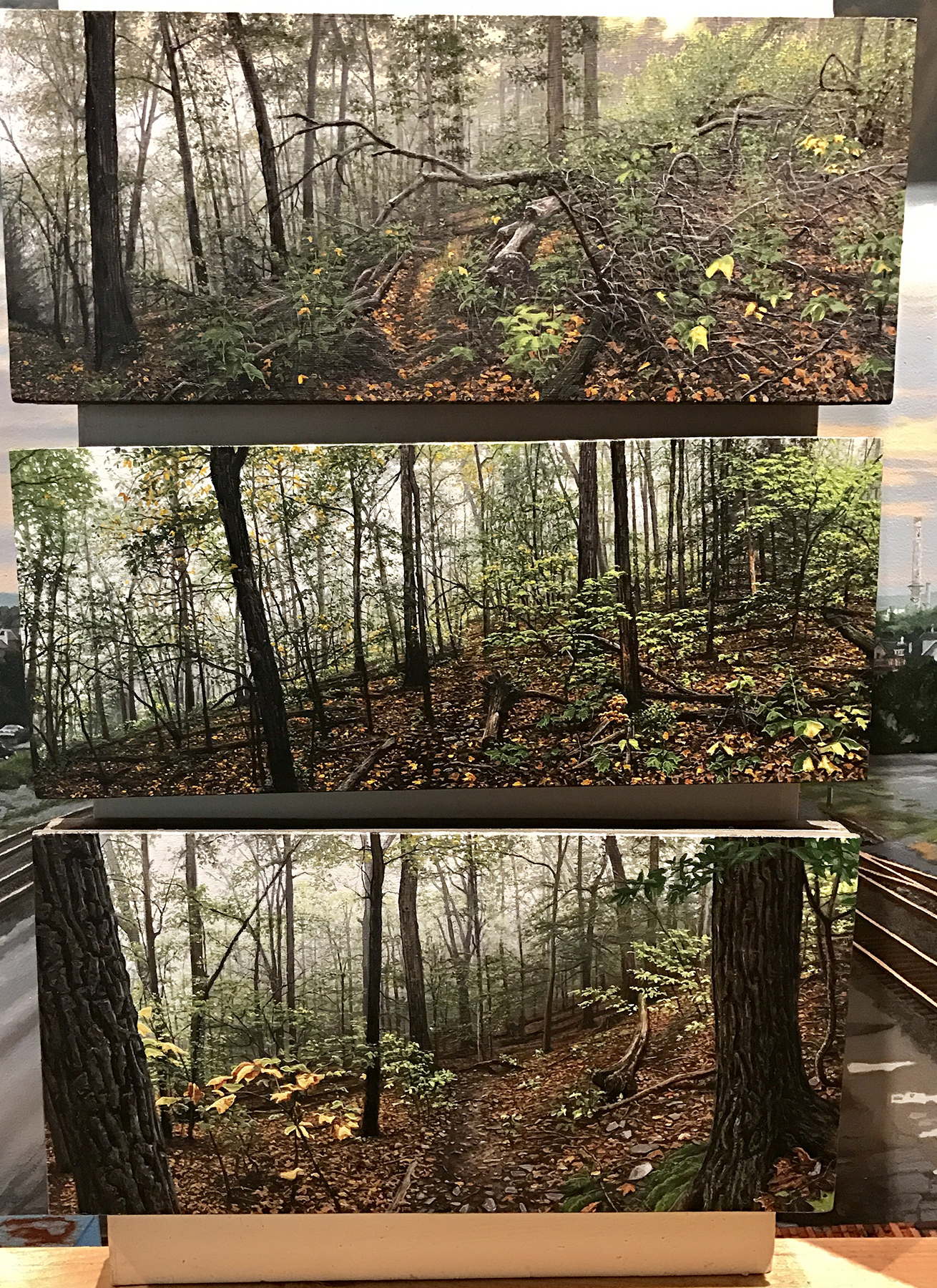 """My first nature paintings - only 4-1/2"""" x 11"""" each, from top to bottom:  Stillness Speaks, The Pilgrimage  and  The Awakening."""