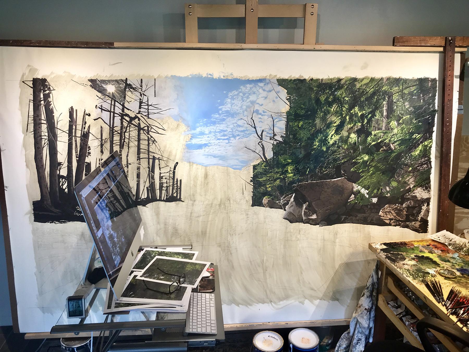 The Return,  in progress, in my Florida studio