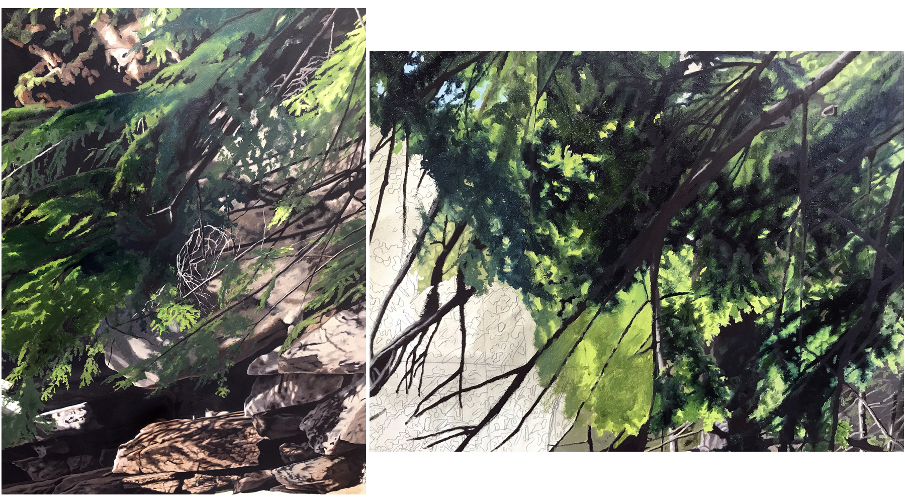 Left:  The Return  underpainting. Right:  The Return , in progress.
