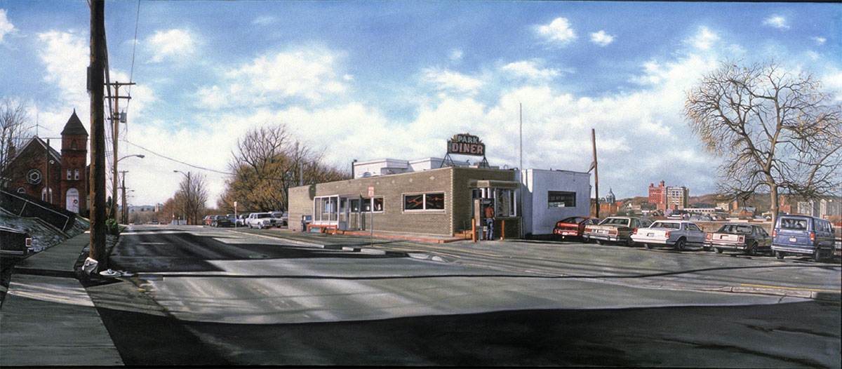 """Park Diner"", 1992, oil on canvas, 36 x 84 inches"