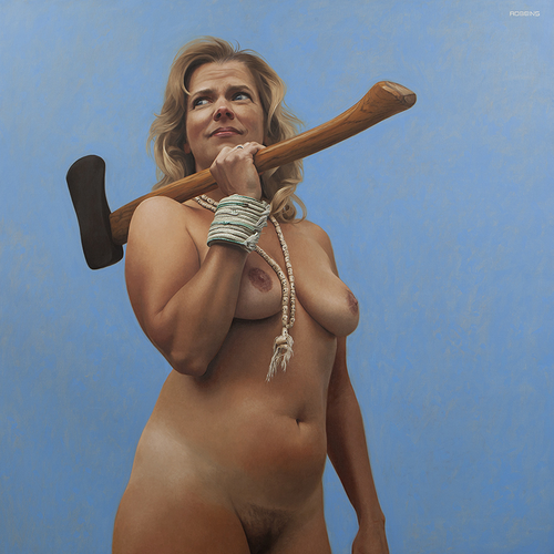 """I Will Survive , 2016, Oil on Linen, 48""""x48"""". Count-Ibex collection."""