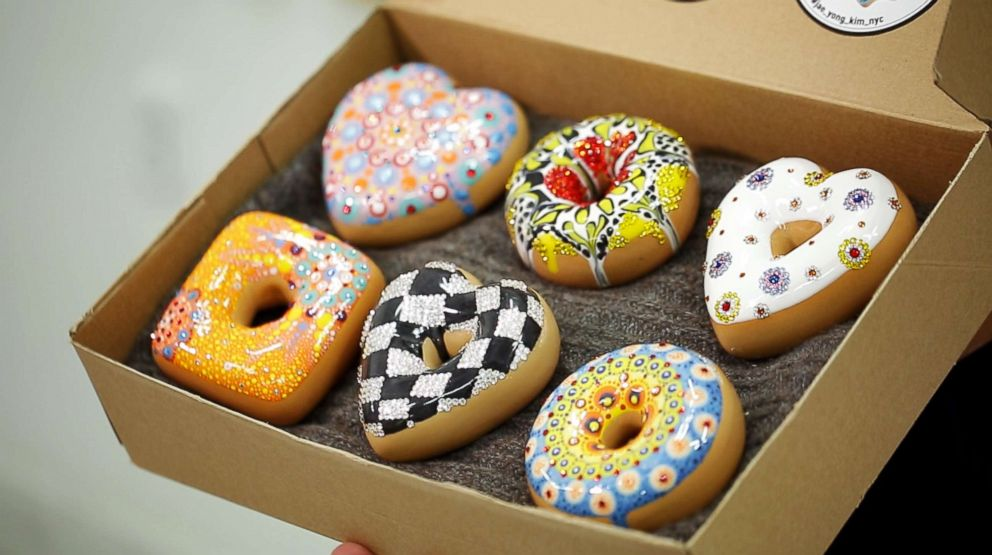 These doughnuts made by Jae Yong Kim are decorated with Swarovski crystals.