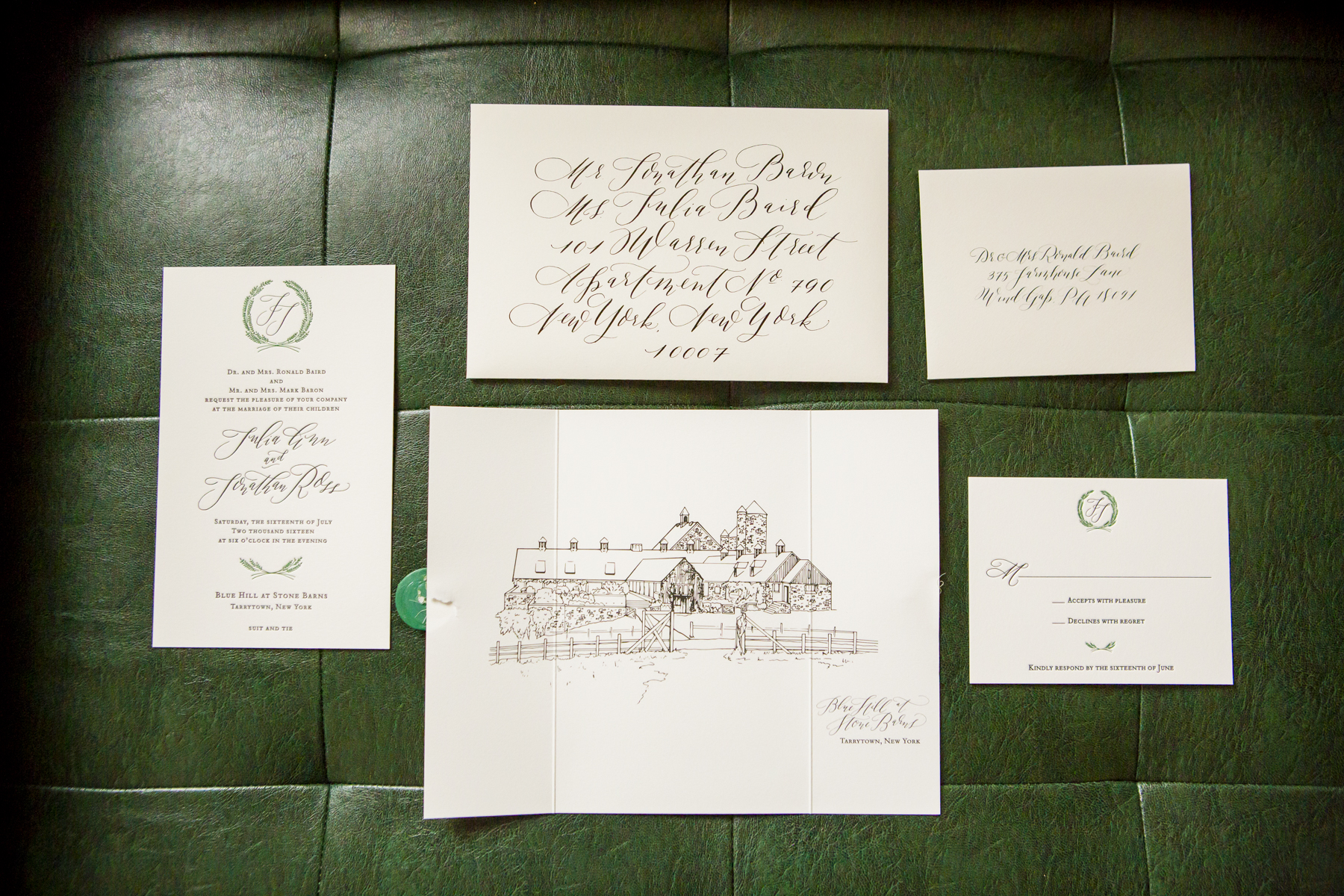 - Katie Fischer, who designed our invitations, did a really great job at capturing the feeling we were looking for.  Her invites set the mood long before the day itself. She also created a logo that we carried throughout all of our designs (napkins, matches, etc.).