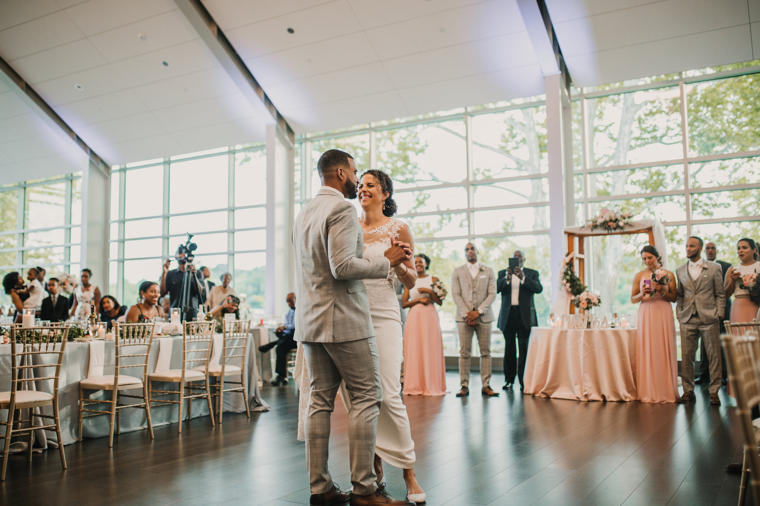 - There's nothing I love more than a lively and crowded dance floor, and their guests brought that to the table and then some. The bridesmaids and groomsmen put the party in wedding party, hannnnds down.