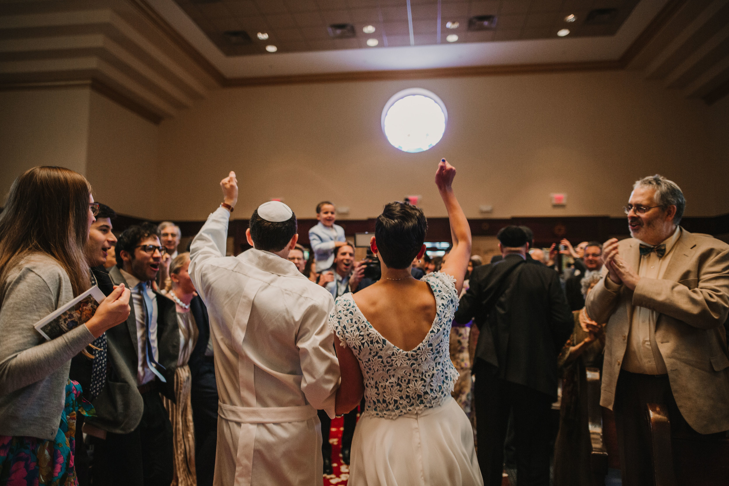 - From the moment after their first kiss, it was a full on party until the last moments of the day. The couple was danced back down the aisle, their Horah was FULL of energy, and it included a shtick - when wedding guests perform skits and pranks in the middle of a packed dance floor.