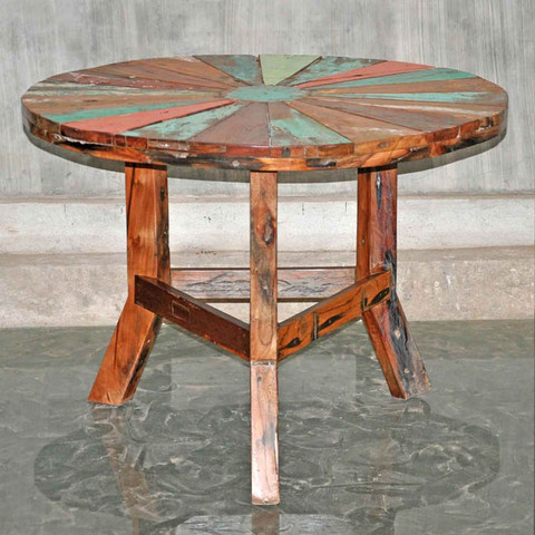Round Boatwood Dining Table