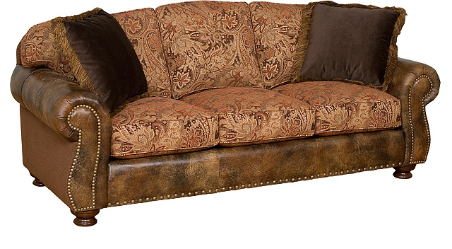 Helen Leather and Fabric Sofa