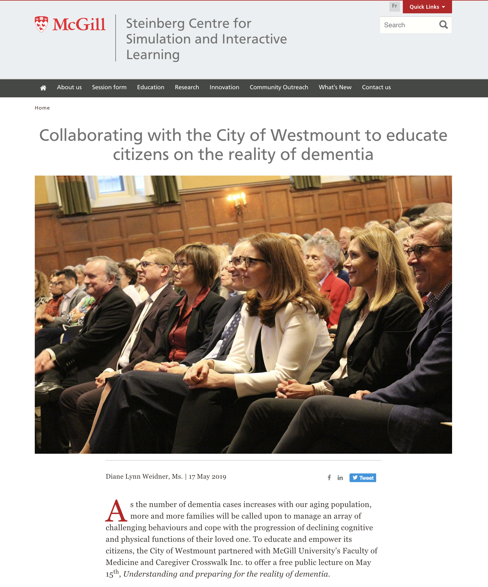 McGill - Collaborating with the City of Westmount to educate citizens on the reality of dementia