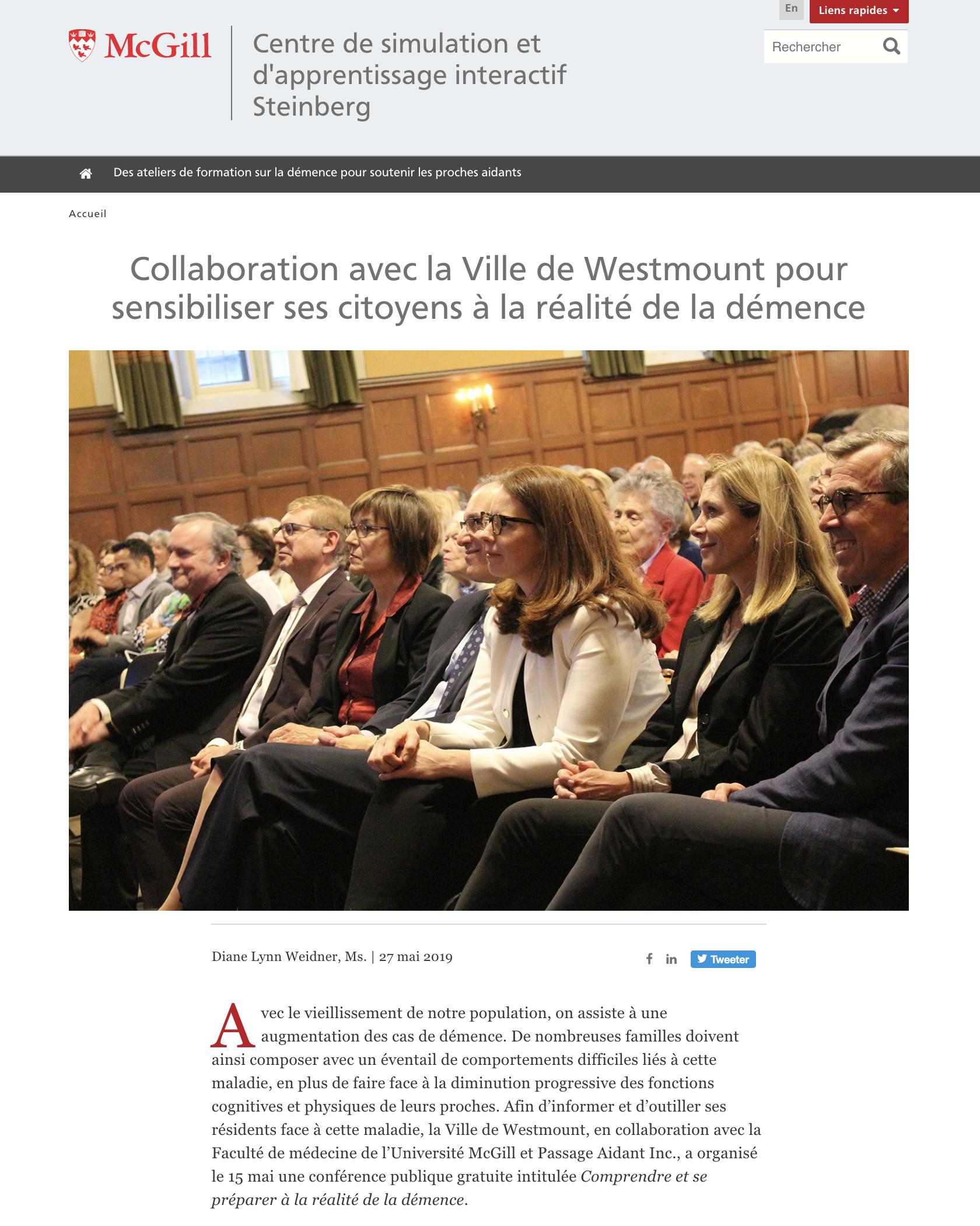 McGill - Collaboration avec la Ville de Westmount pour sensibiliser ses citoyens à la réalité de la démence