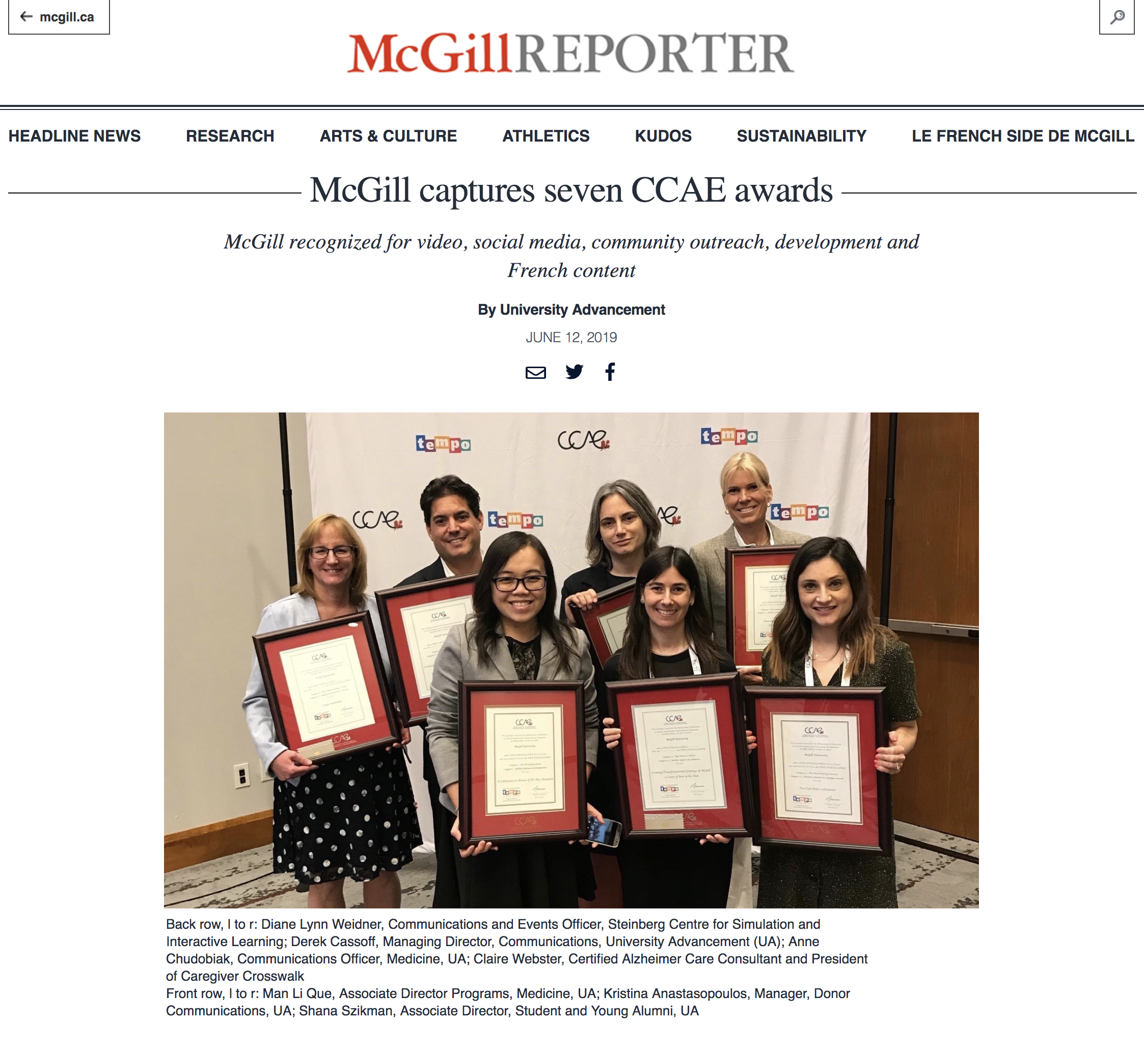 McGill Reporter - McGill Captures Seven CCAE Awards