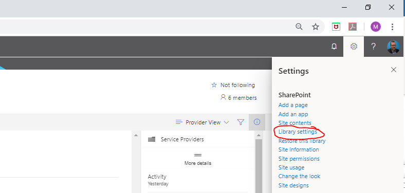 Navigating to Library Settings - this may be in a different location depending on the version of SharePoint that you're using.