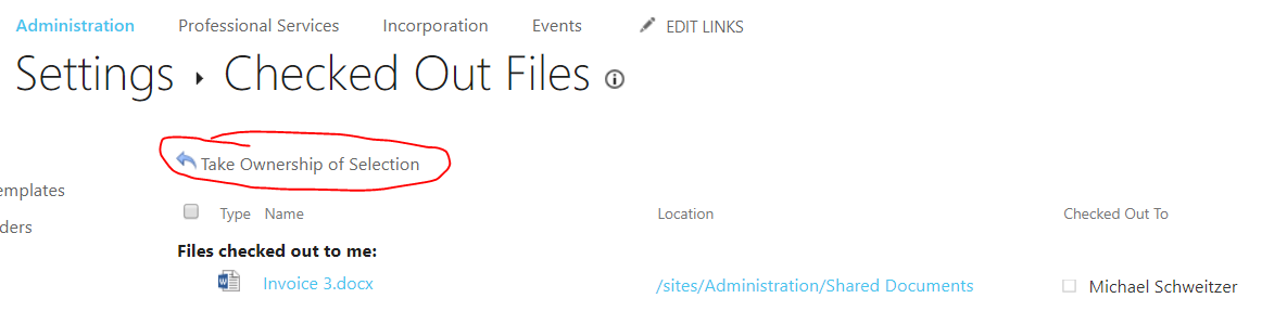 Taking ownership of a document in SharePoint that's missing metadata