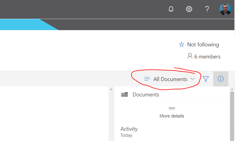 Making sure you're on the all documents view