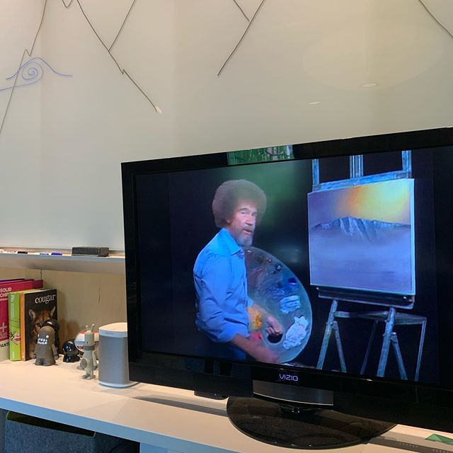 The happy little sounds of #bobross in the background inspiring us today at the office #duzlife