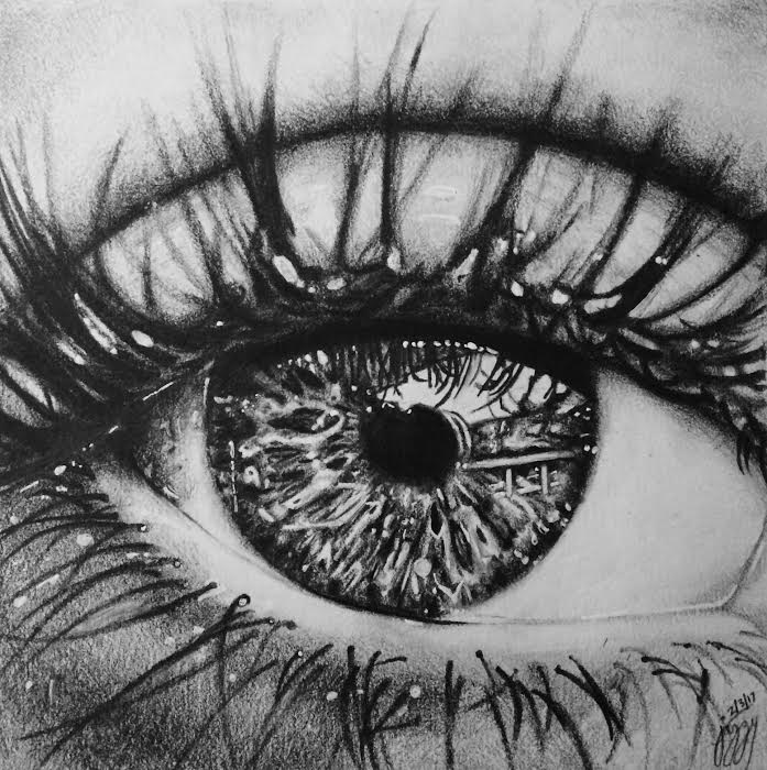 """This is a 6"""" by 6"""" pencil drawing of an eye that I did off a reference picture I found online. I hadn't worked in pencil in a while, but I really enjoyed creating different values and shading in this piece."""
