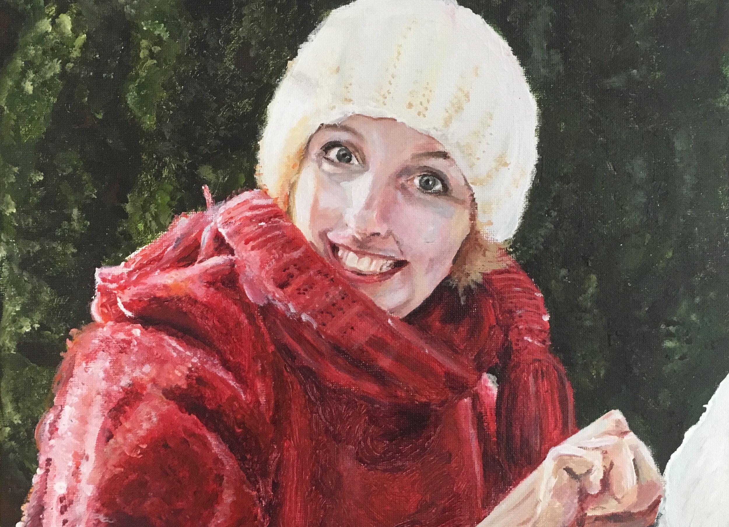 Babouchka - Acrylic on canvas-board, 9 x 12'