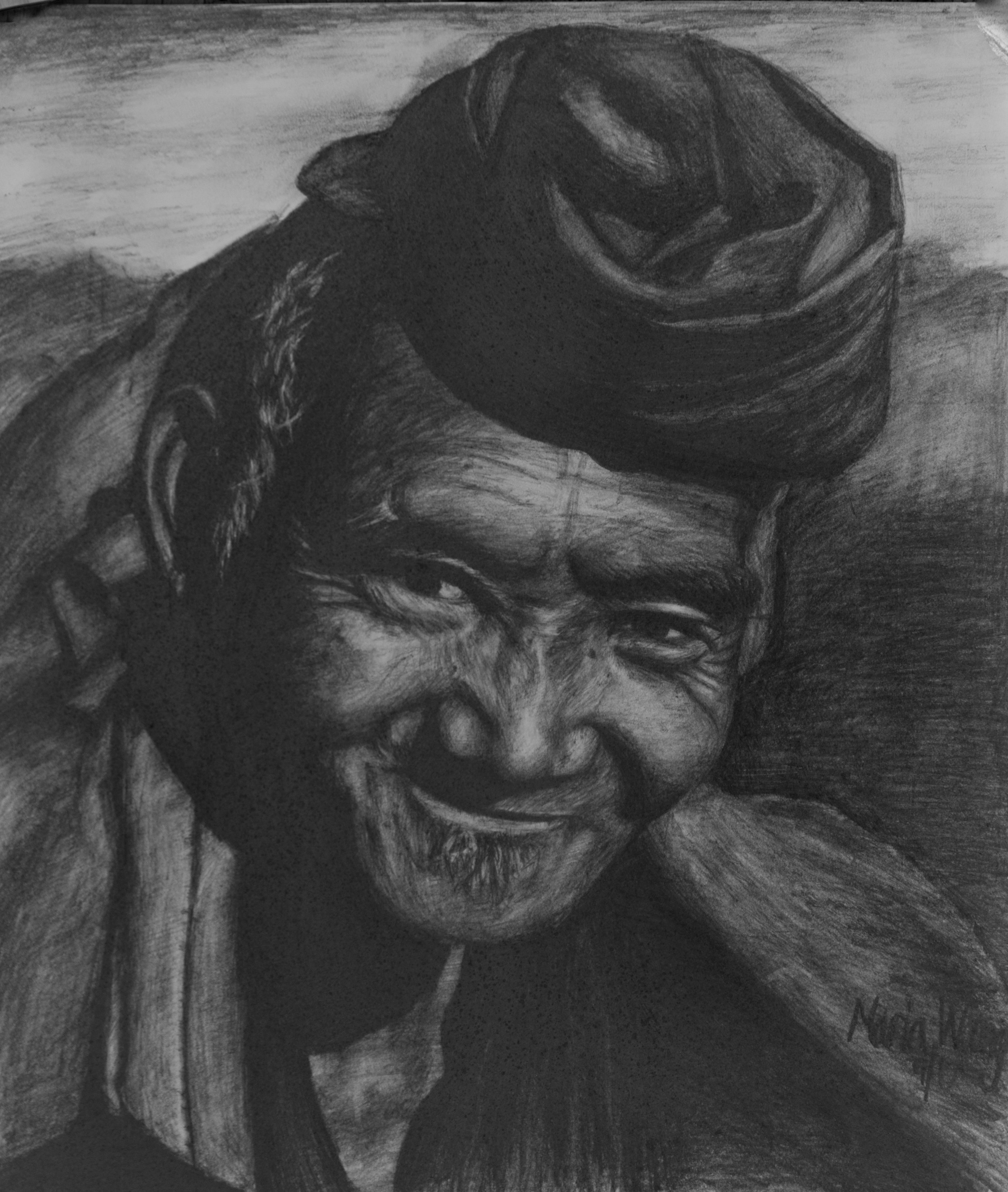 Man of the Mountains   I was browsing portraits one day, and I saw this man and his smile. I wanted to capture his happiness on paper. His joy, or so I imagine, comes from his carefree life as a tribesman in China.