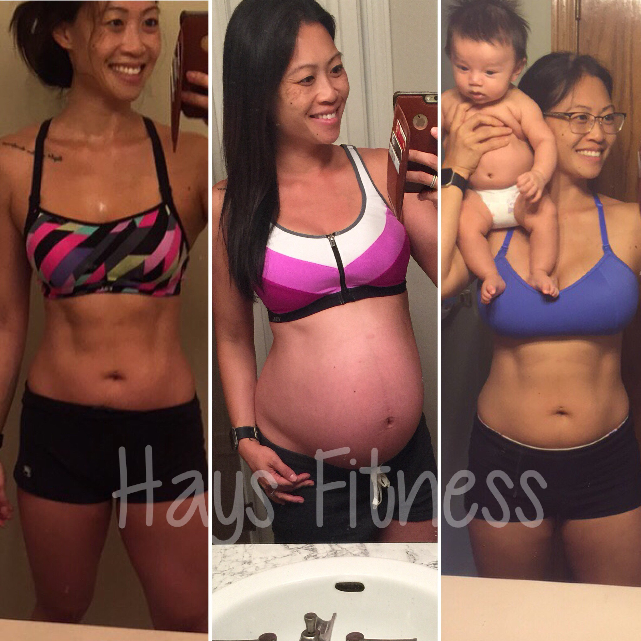 The picture on the left (October 2016) was at the end of my cut at 144 lbs. It's also when I found out I was pregnant with my second child. The middle picture is at 40 weeks pregnant at 171 lbs., where I tracked my macros the entire time and reverse dieted. The far right picture is the most current (September 2017) at 2 months postpartum at 149 lbs., consuming over 2800 calories a day to keep my milk supply up.