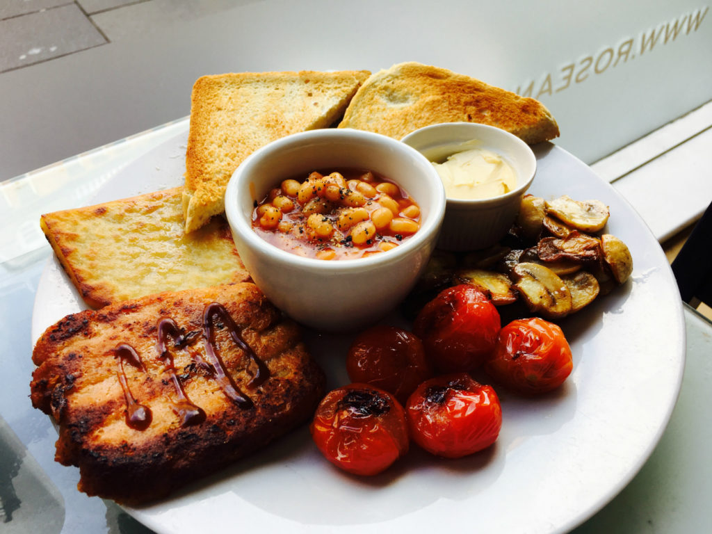 The vegan lorne sausage forms an integral part of Rose and Grants vegan Scottish fry-up