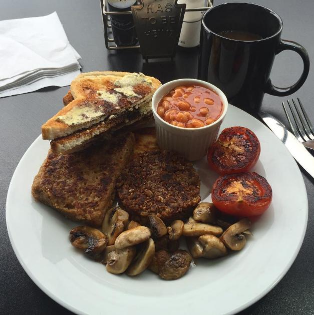 The vegan lorne sausage in Edinburgh as part of Breakfast, Brunch, & Lunch's vegan Scottish fry-up