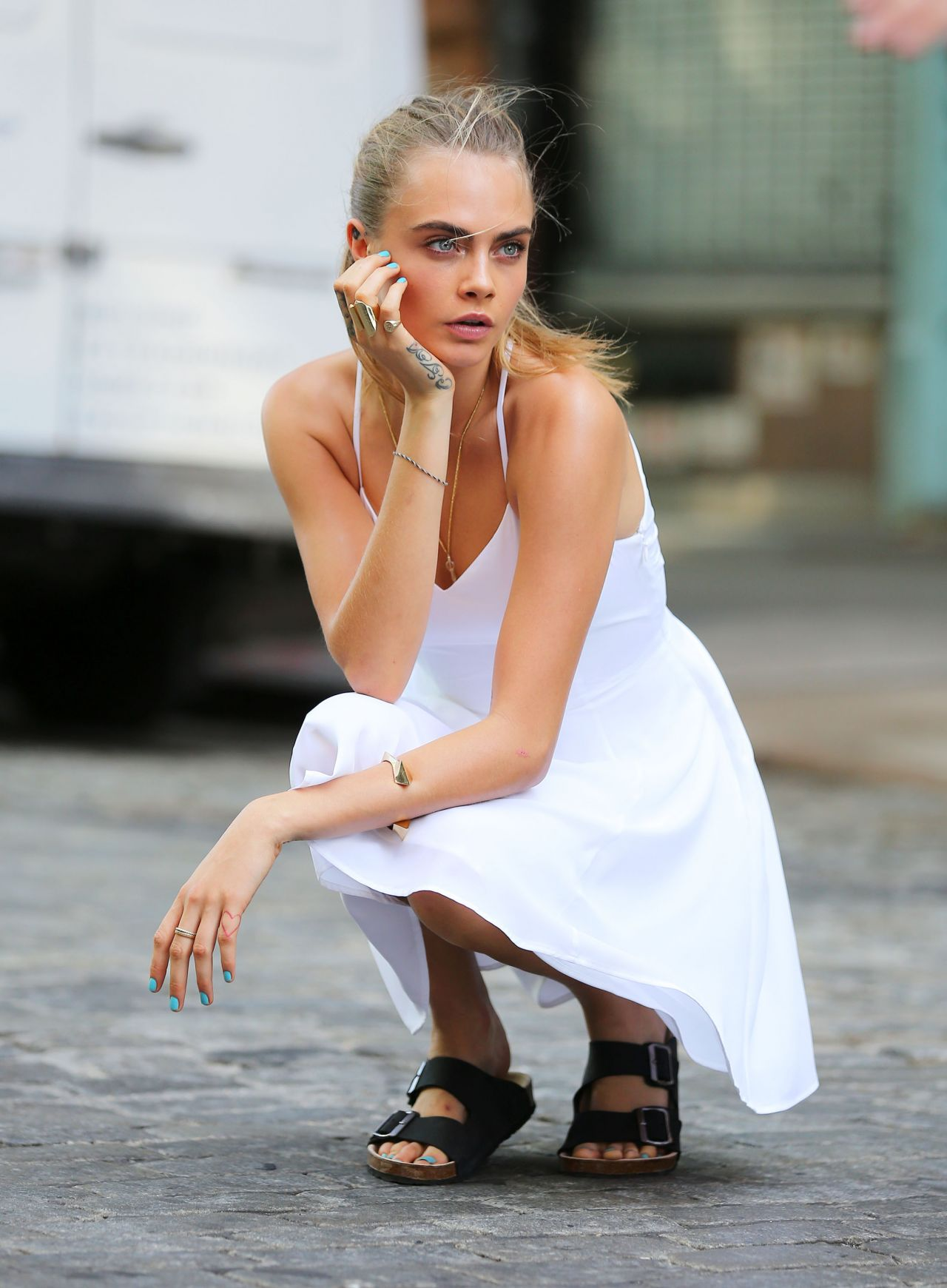 Cara Delevingne is one of many celebs who've been sporting Birkenstock shoes.