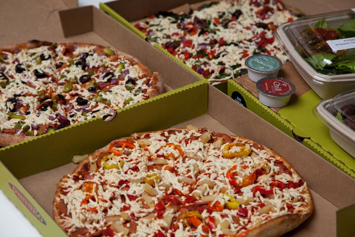 Panago Pizza, a Canadian pizza chain, were showing their vegan range at the event.