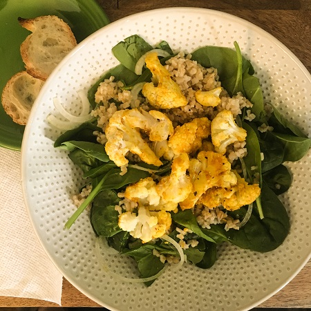 Turmeric Tahini Roasted Cauliflower Salad from Naturally Ella - it's so good!