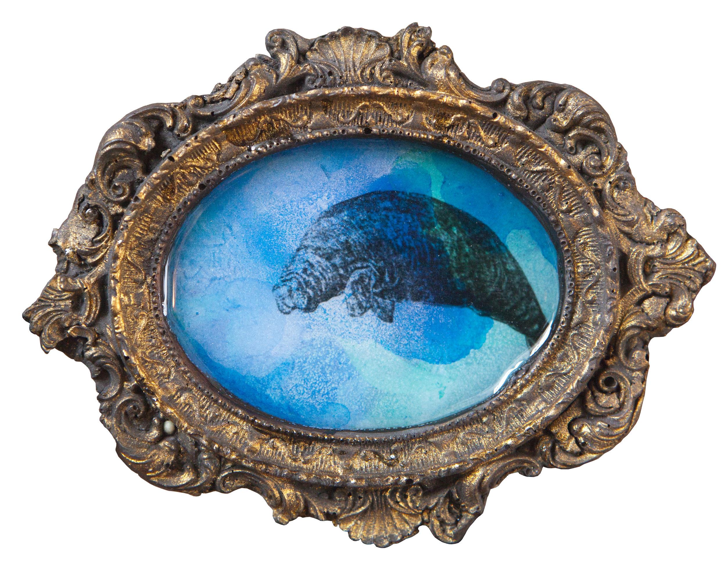 Shiraz Bayjoo   Dugong   Acrylic on board, resin, jesmonite  14 x 10 x 1 cm  2017