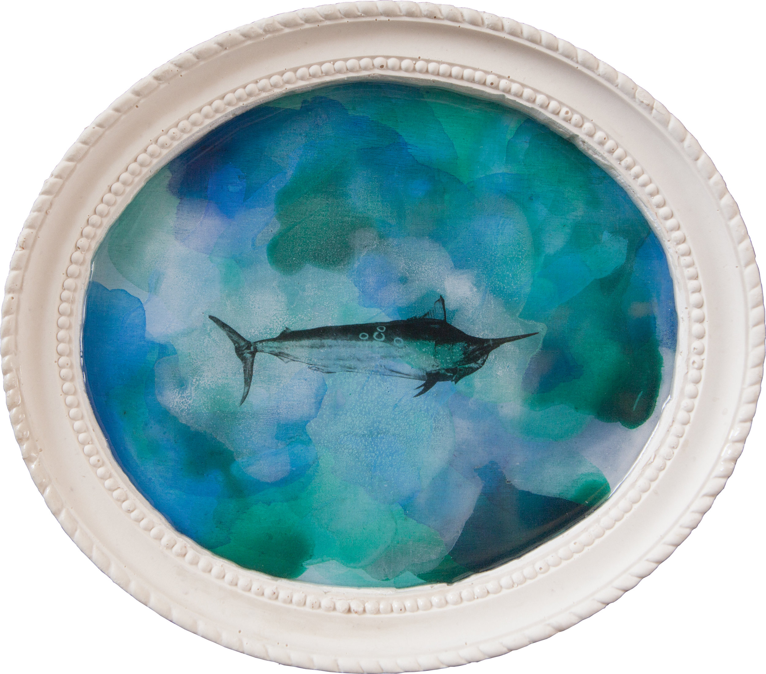 Shiraz Bayjoo    Port Hole No.2 Marlin    Acrylic on wood, resin, jesmonite  27 x 23 x 3 cm  2017