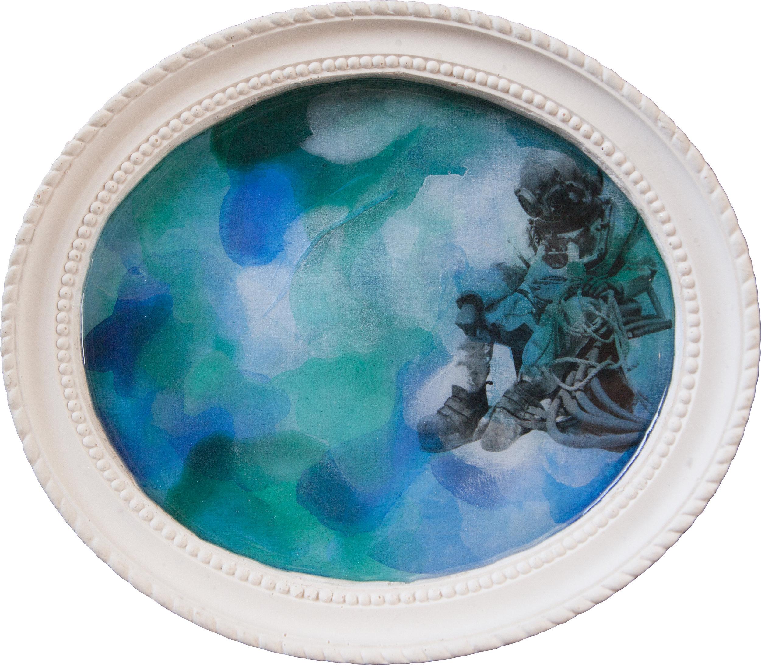 Shiraz Bayjoo    Port Hole No.2 Oyster Diver    Acrylic on wood, resin, jesmonite  27 x 23 x 3 cm  2017