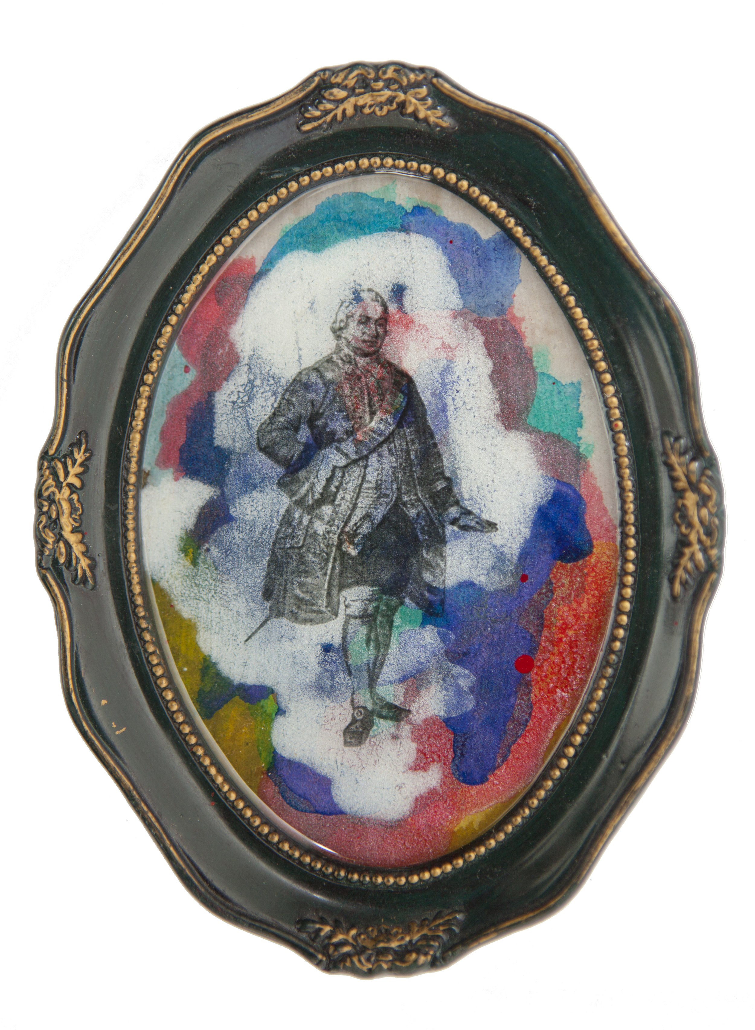 Shiraz Bayjoo    Governor part 1    Acrylic on board, resin, wood  15 x 11.5 x 1.5 cm  2016