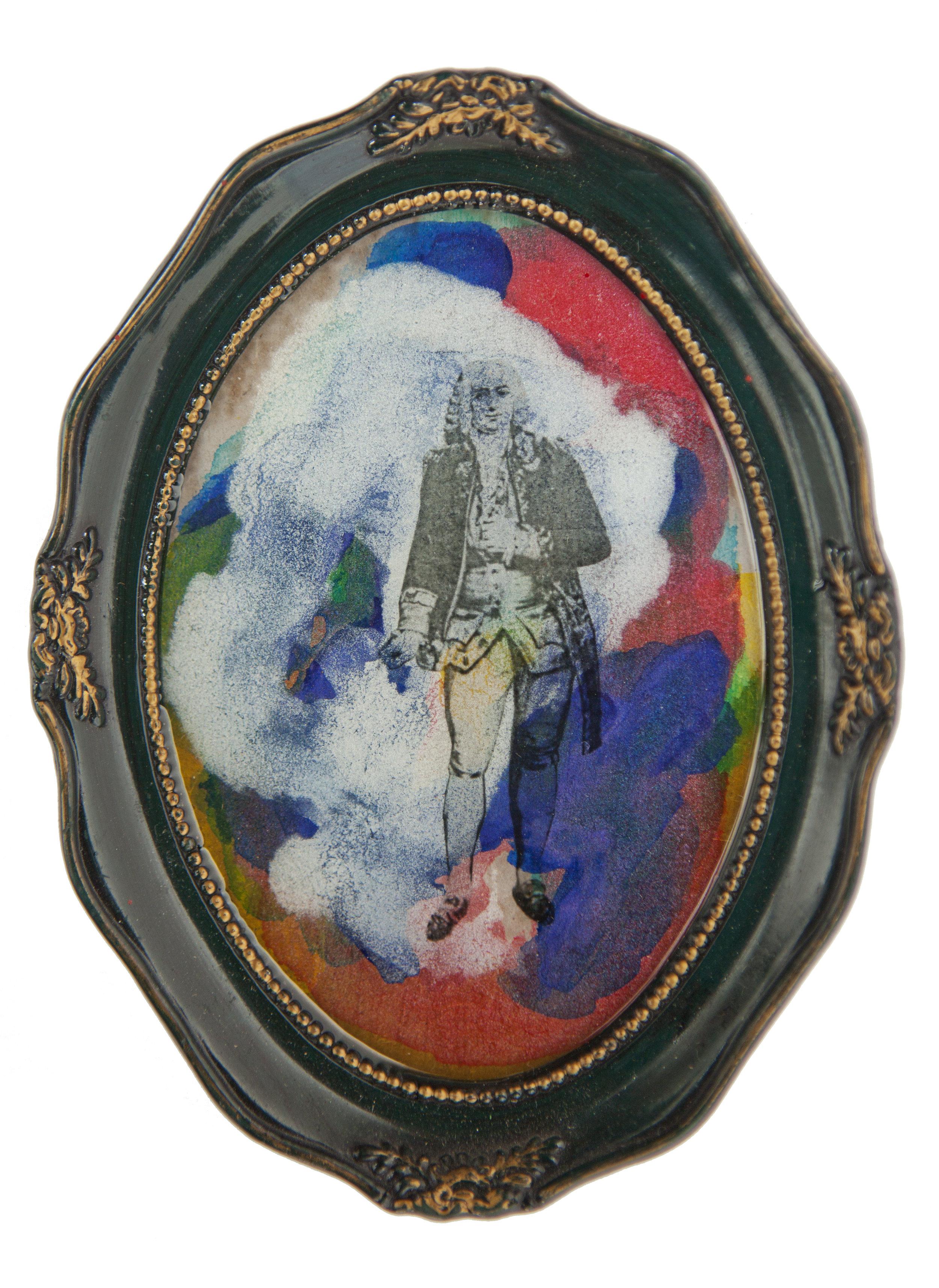 Shiraz Bayjoo    Governor part 2    Acrylic on board, resin, wood  15 x 11.5 x 1.5 cm  2016