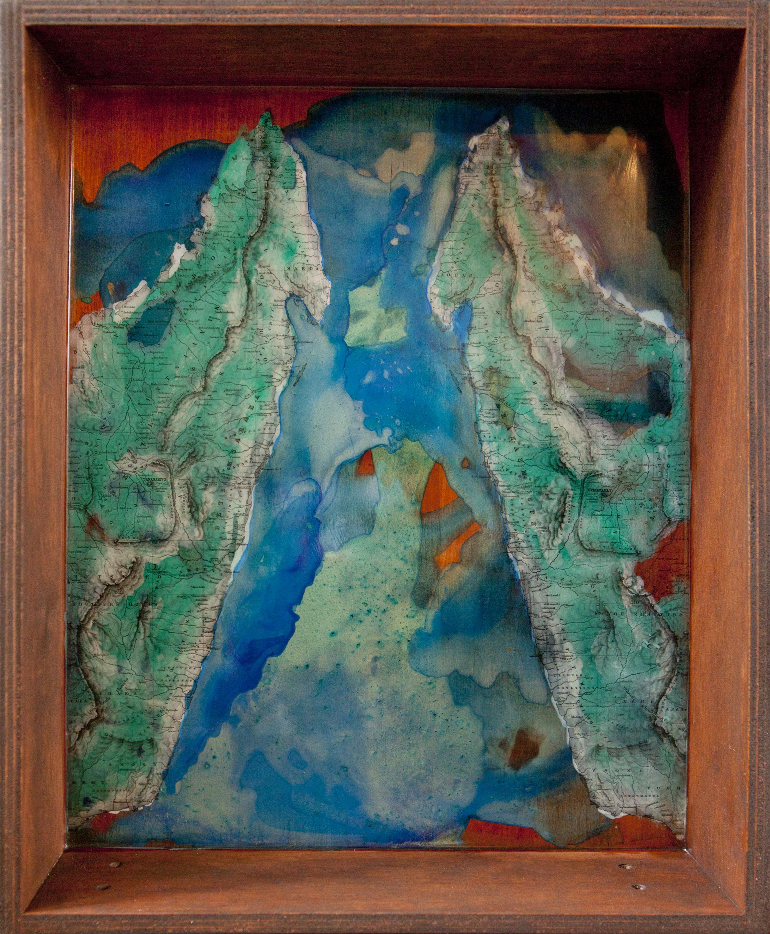 Shiraz Bayjoo    Le grand L'Ile    Acrylic, resin, reclaimed furniture  45 x 36 x 10 cm  2012