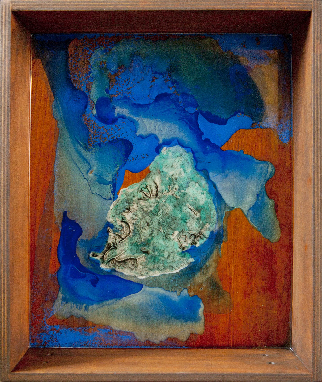 Shiraz Bayjoo    Ile de France    Acrylic, resin, reclaimed furniture  45 x 36 x 10 cm  2012