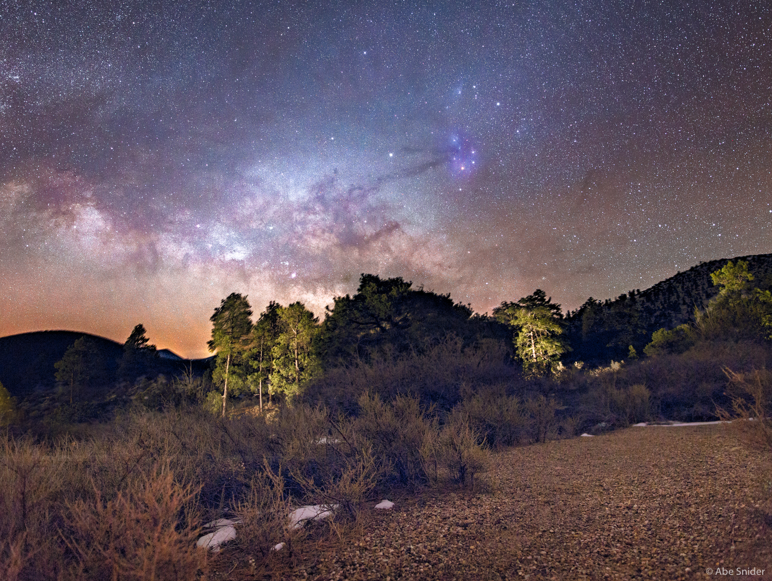 The Milky Way rising in Northern Arizona on a cold winter night.