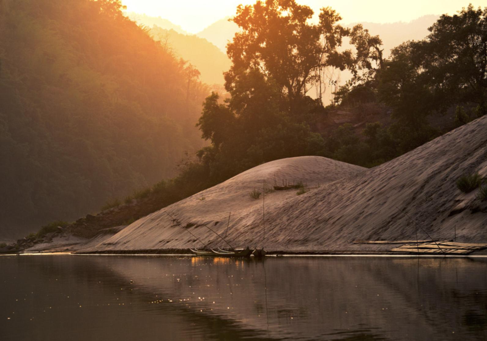 Sunset about 10km from Pak Beng, Laos