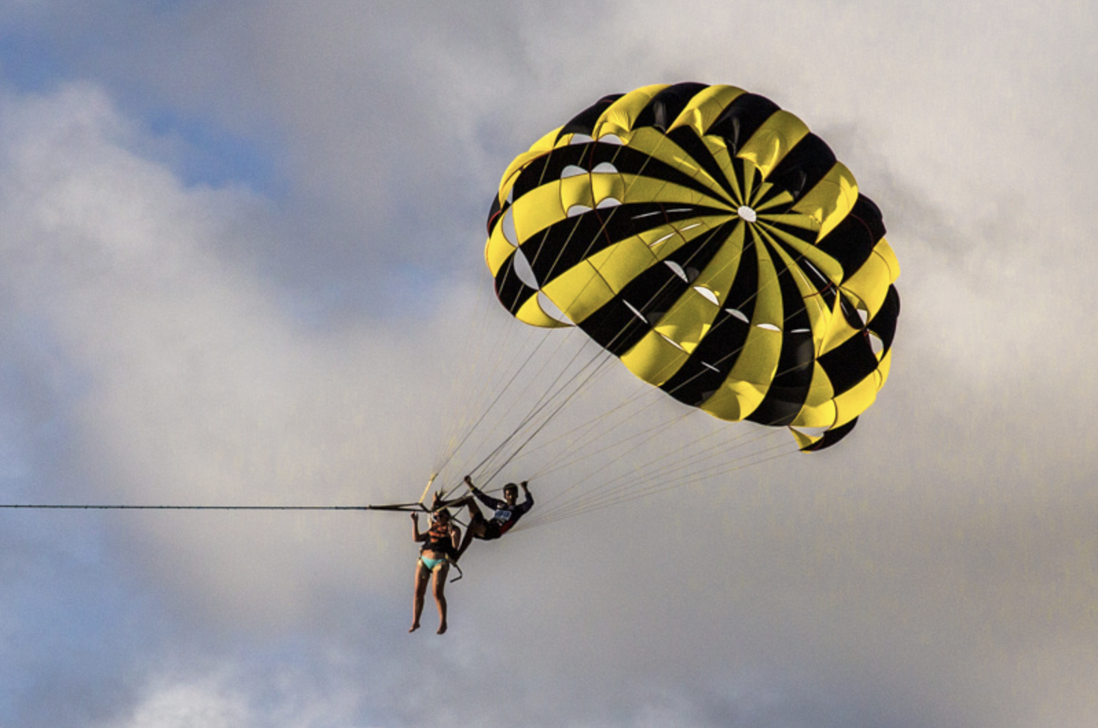 It always amazes me when the 'helper' for this parasailor just hangs on no matter how high they go.