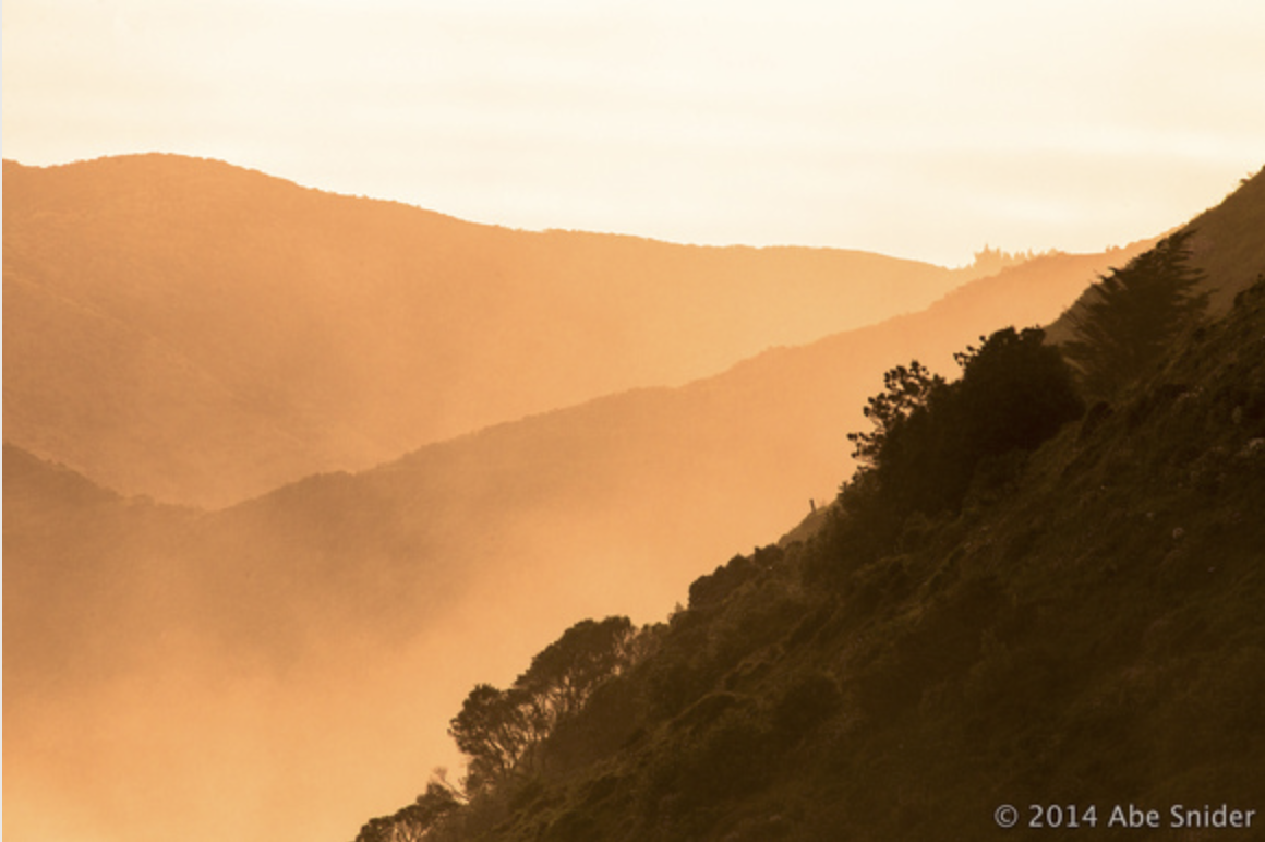 A closeup at 40mm of the hillside lit up in the moments before sunset.