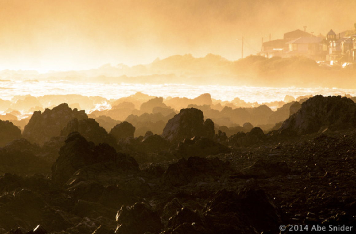 Another closeup of the shoreline coverd in mist just before last light.