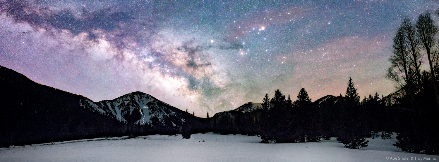 The night sky over the Inner Basin of the San Francisco Peaks in Northern Arizona.