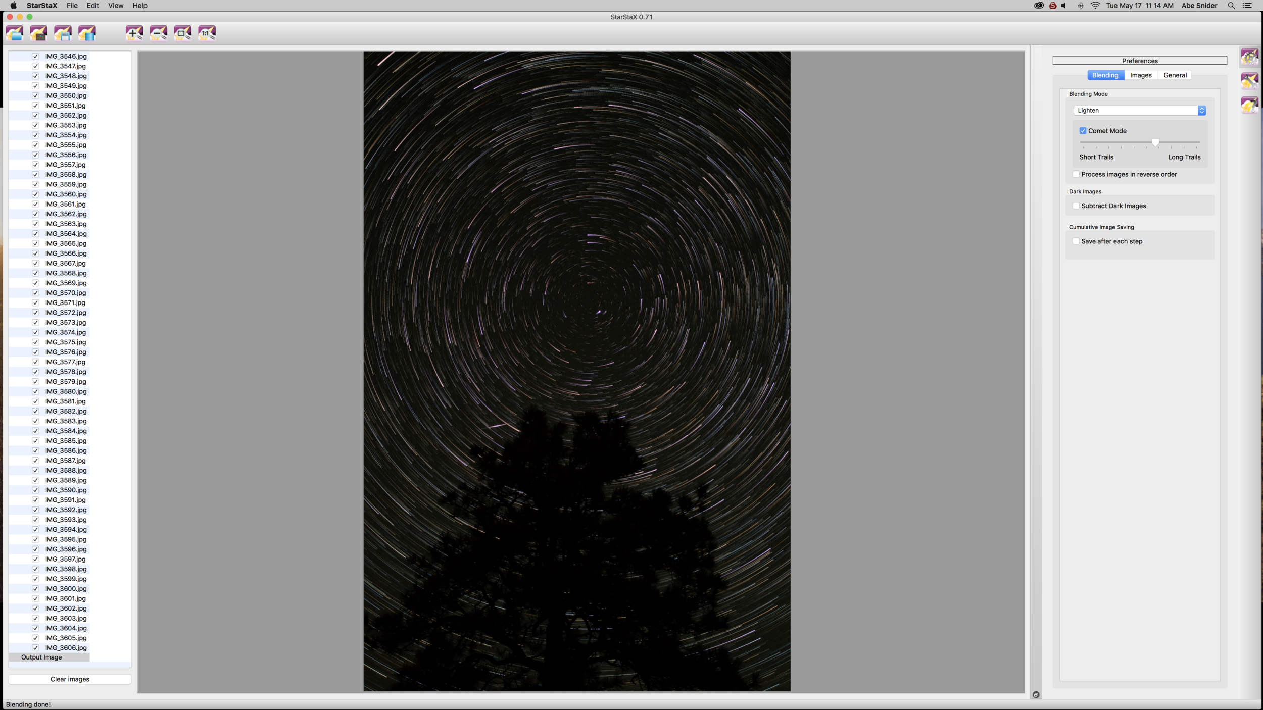 Starstax program after adding up all images into one stack.