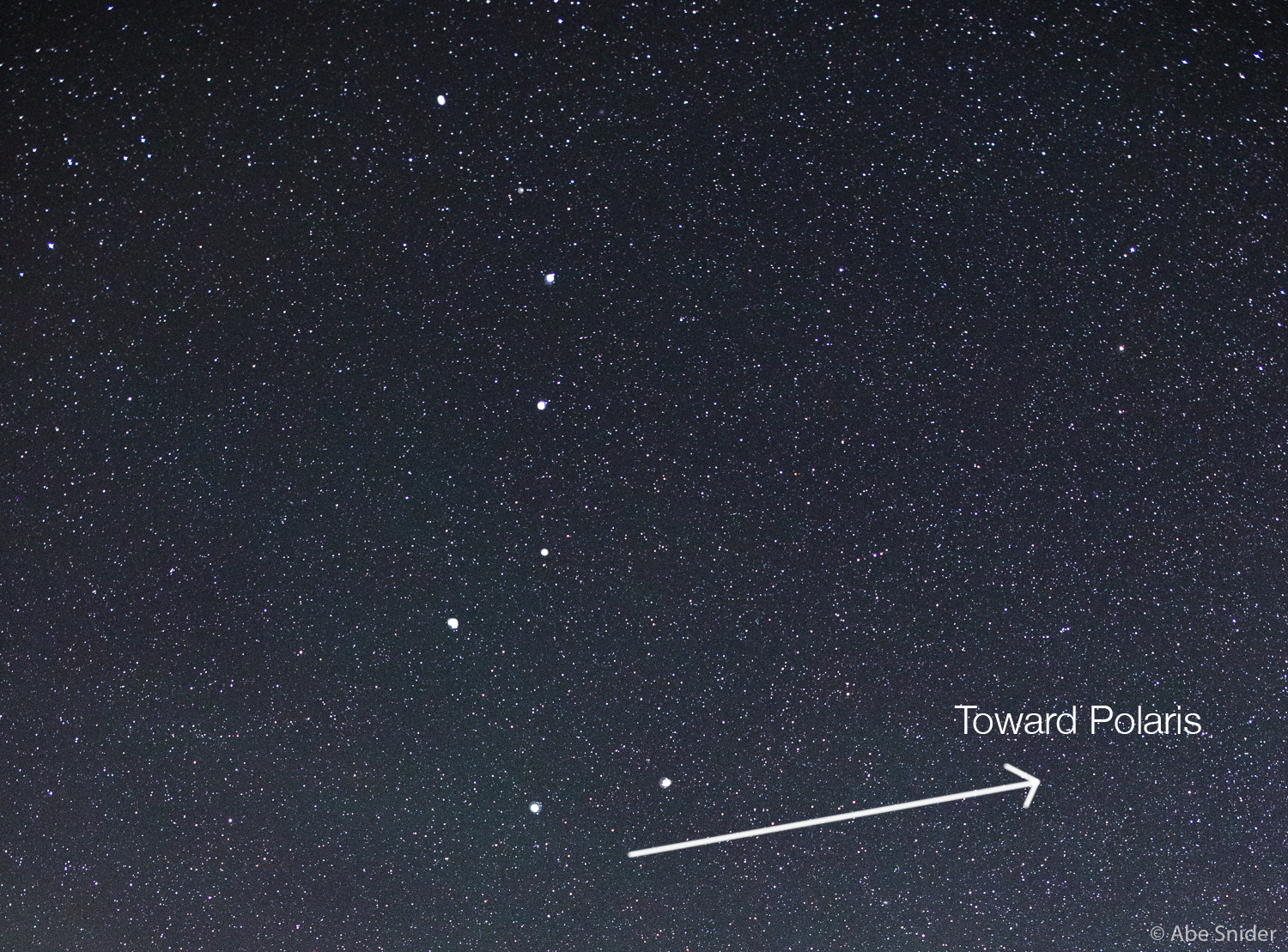 Big Dipper in Northern Sky. See how the edge of the cup points towards Polaris?