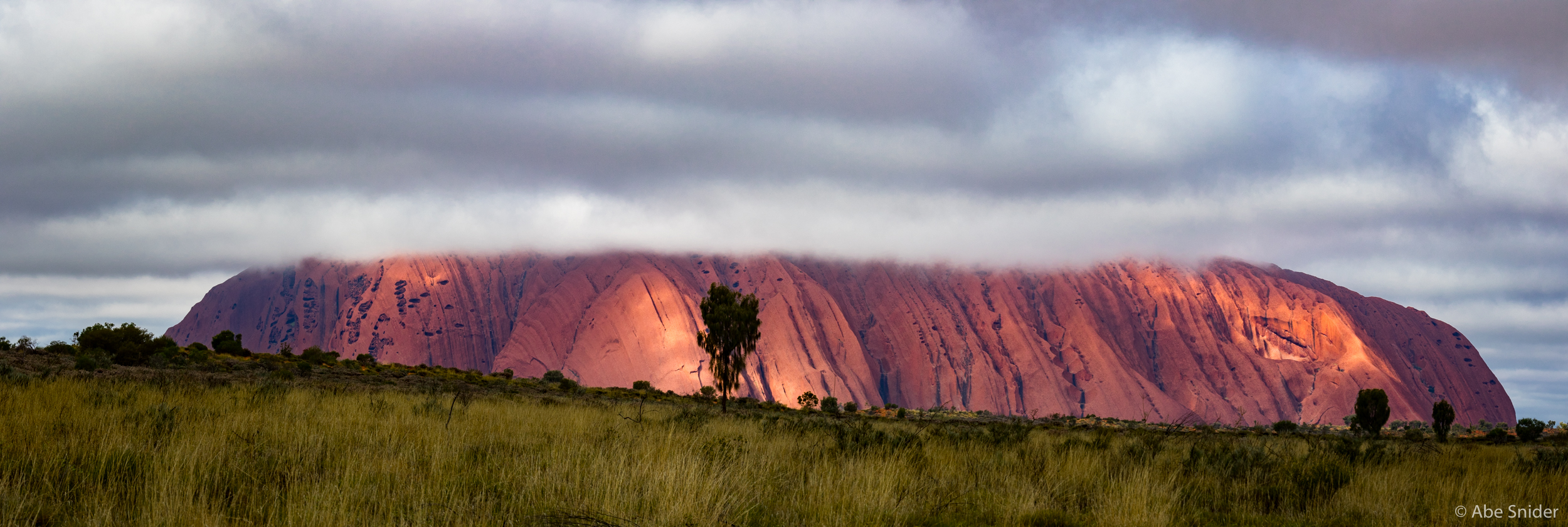 This was how Uluru looked upon our arrival. It was a few days until we had better weather but it was great having cooler temperatures even in winter.